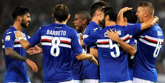 Genova, 22/08/2015<br /> Serie A/Sampdoria-Carpi<br /> Gol Sampdoria (4-0): esultanza Citadin Martins Eder e compagni