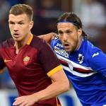 Genova, 23/09/2015 Serie A/Sampdoria-Roma Edin Dzeko-Matias Agustin Silvestre
