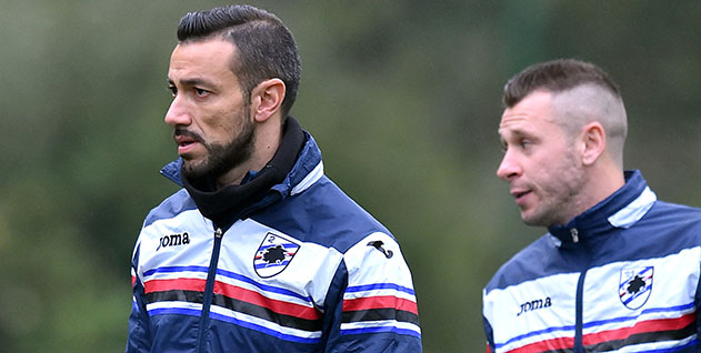 Bogliasco (Genova), 02/02/2016 Sampdoria/Allenamento Fabio Quagliarella-Antonio Cassano