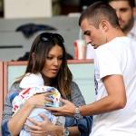 Genova, 05/10/2014 Serie A/Sampdoria-Atalanta Andrej Krsticic (figlio Nenad Krsticic)-Jelena Krsticic (moglie Nenad Krsticic)-Nenad Krsticic