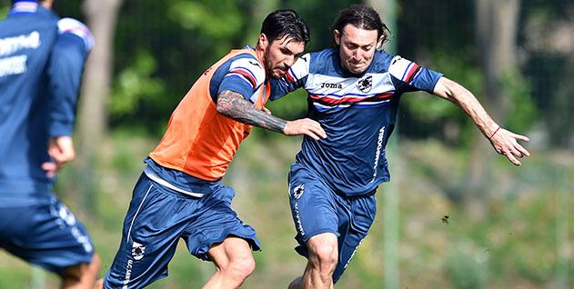 Bogliasco (Genova), 06/04/2016 Sampdoria/Allenamento Roberto Soriano-Edgar Osvaldo Barreto
