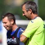 Temu (Brescia), 25/07/2016 Sampdoria/Ritiro 2016-17 - Allenamento Antonio Cassano-Marco Giampaolo (allenatore Sampdoria)