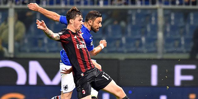 Genova, 17/04/2016 Serie A/Sampdoria-Milan Alessio Romagnoli-Fabio Quagliarella