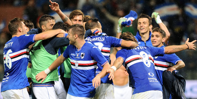 22-10-2016: GENOVA, SAMPDORIA-GENOA CAMPIONATO SERIE A TIM 2016-2017 Sampdoria esultanza finale