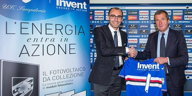 Bogliasco (Genova), 28/04/2017 Sampdoria/Invent - Presentazione sponsorizzazione Sante Bartoletto (legale rappresentante Invent)-Carlo Osti (d.s. Sampdoria)