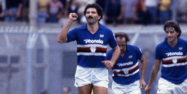 Roberto Mancini ( Sampdoria )Trevor John Francis (Sampdoria)  Gian Franco Bellotto (Sampdoria) Graeme James Souness (Sampdoria); ; 1983 1984 - Football : italian championship 1983 1984;;; Italy.;;( photo by aicfoto)(ITALY) [0855]