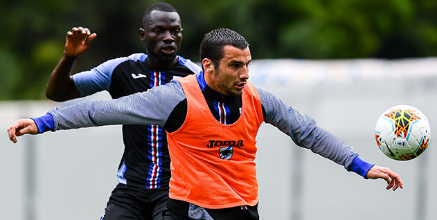 Equipe da Sampdoria em treinamento e aprimorando o seu futebol antes de encarar o Bologna em casa. Vitória é essencial a equipe de Gênova Foto: Site Oficial da Sampdoria