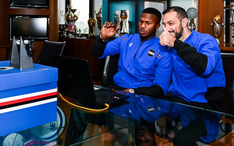 Samp robot helps Quagliarella and Balde visit hospital kids